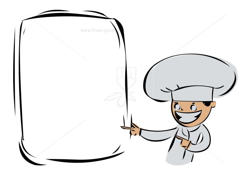 Chef Showing The Menu Board.