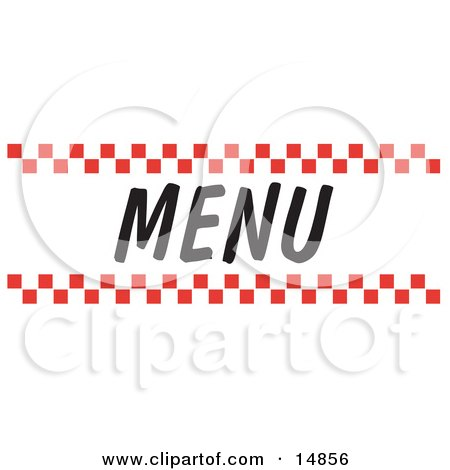 Menu Sign With Red Checker Borders Clipart Picture by Andy.