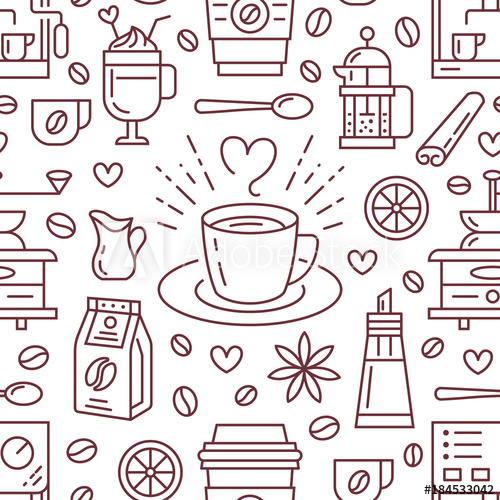 Seamless pattern of coffee, vector background. Cute.