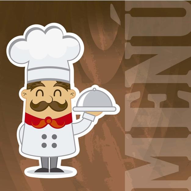 Cartoon chef over wooden texture menu vector illustration.