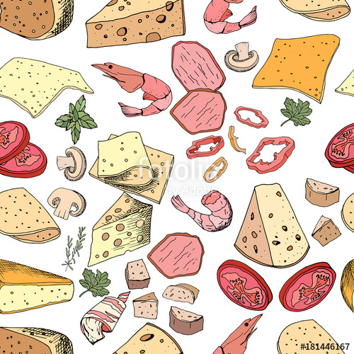 Seamless pattern with pizza and salad ingredients. Endless.