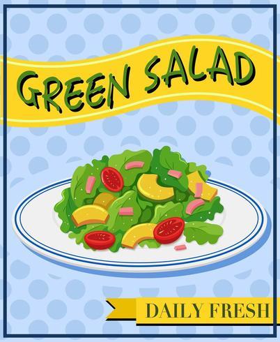 Green salad on menu poster.