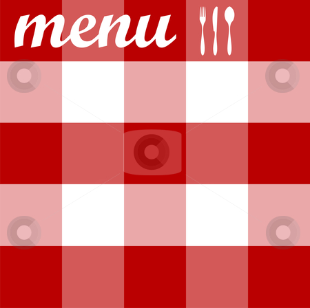 Menu design. Cutlery on red tablecloth texture stock vector.