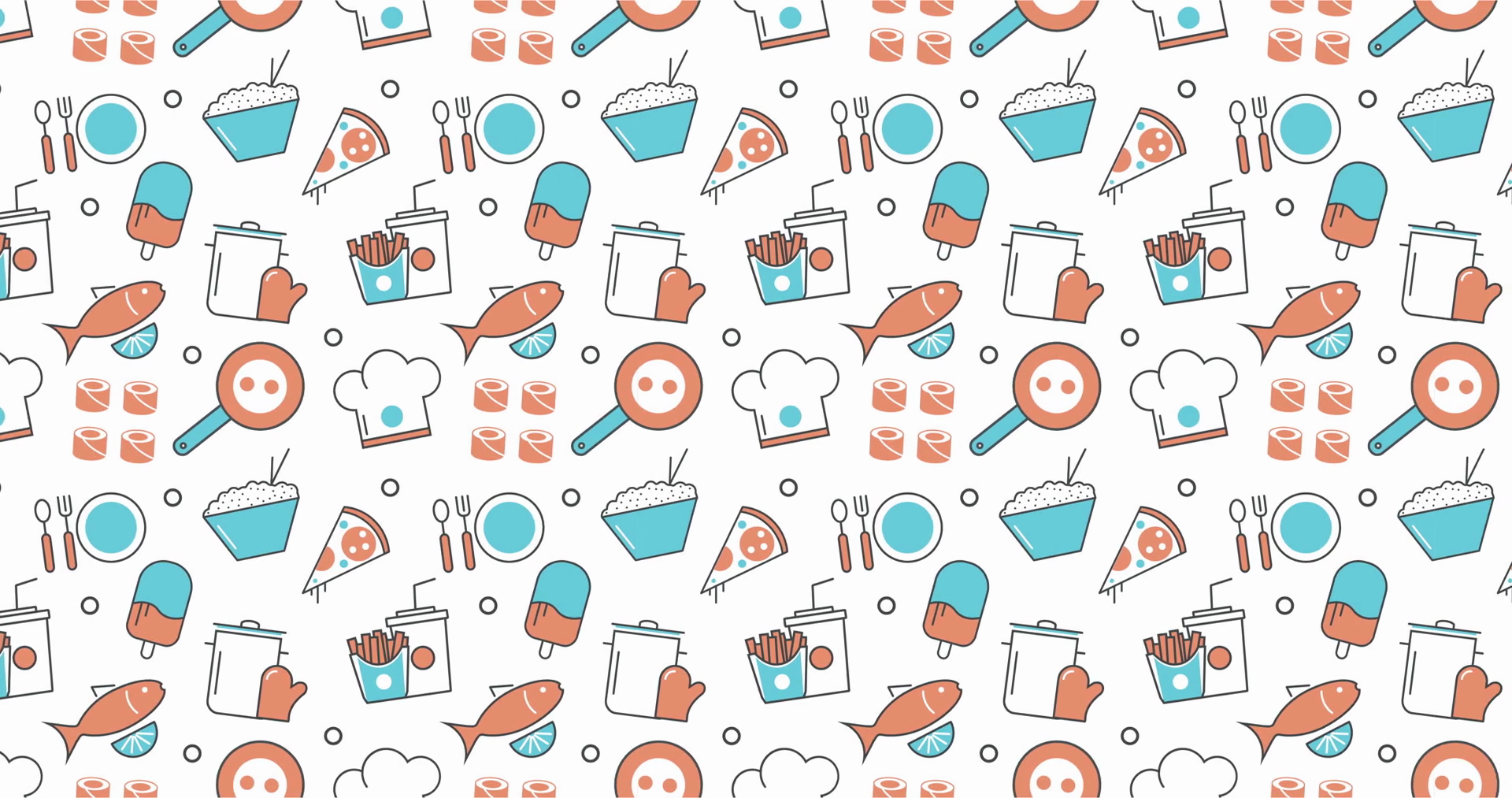 modern seamless texture background of flat food, restaurant menu icons.  Stock Video Footage.