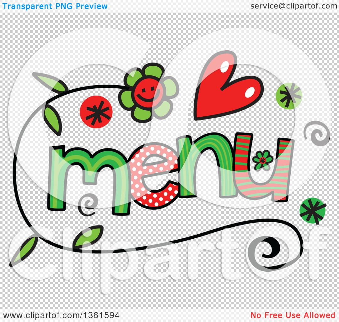 Clipart of Colorful Sketched Menu Word Art.