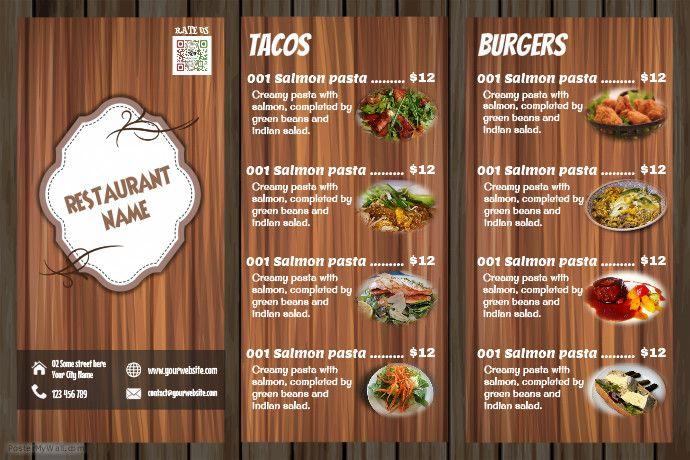Awesome restaurant menu flyer. Wood background.
