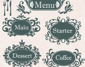 Wedding Menu Card Clipart.