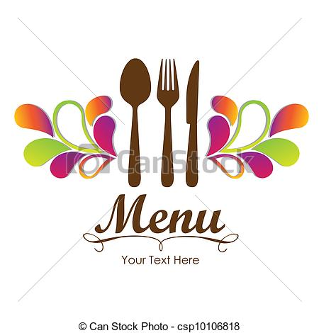 Vector Clip Art of Elegant card for restaurant menu, with spoon.