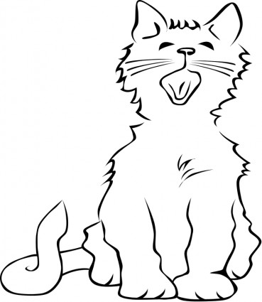 Clip Art Cat Meowing Clipart.