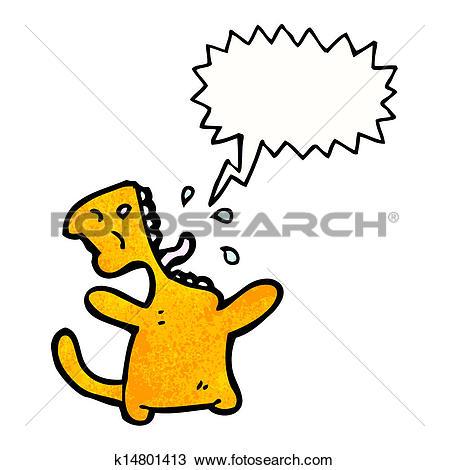 Clipart of cartoon cat meowing k14801413.
