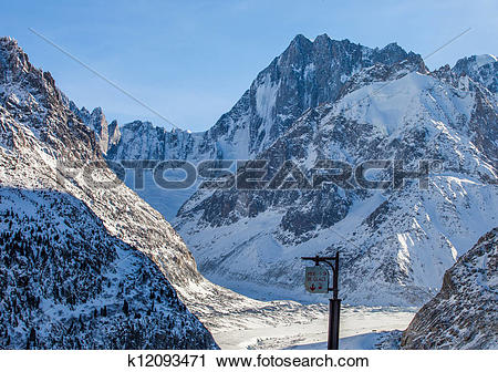 Stock Photography of Mer de glace glacier, French Alps k12093471.