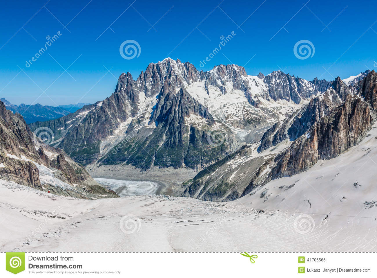 Mer De Glace (Sea Of Ice) Is A Glacier Located On The Mont Blanc.
