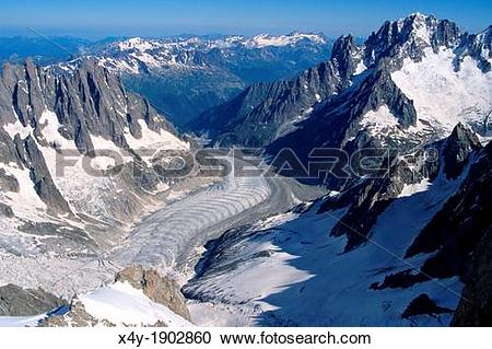 Stock Photography of View of Mer de Glace from Dent du Geant, Mont.