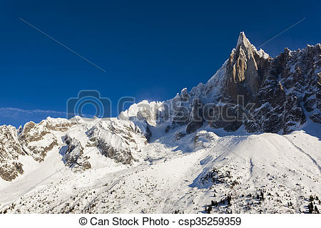 Stock Images of Aiguilles du Alpes from the Mer de Glace, Chamonix.