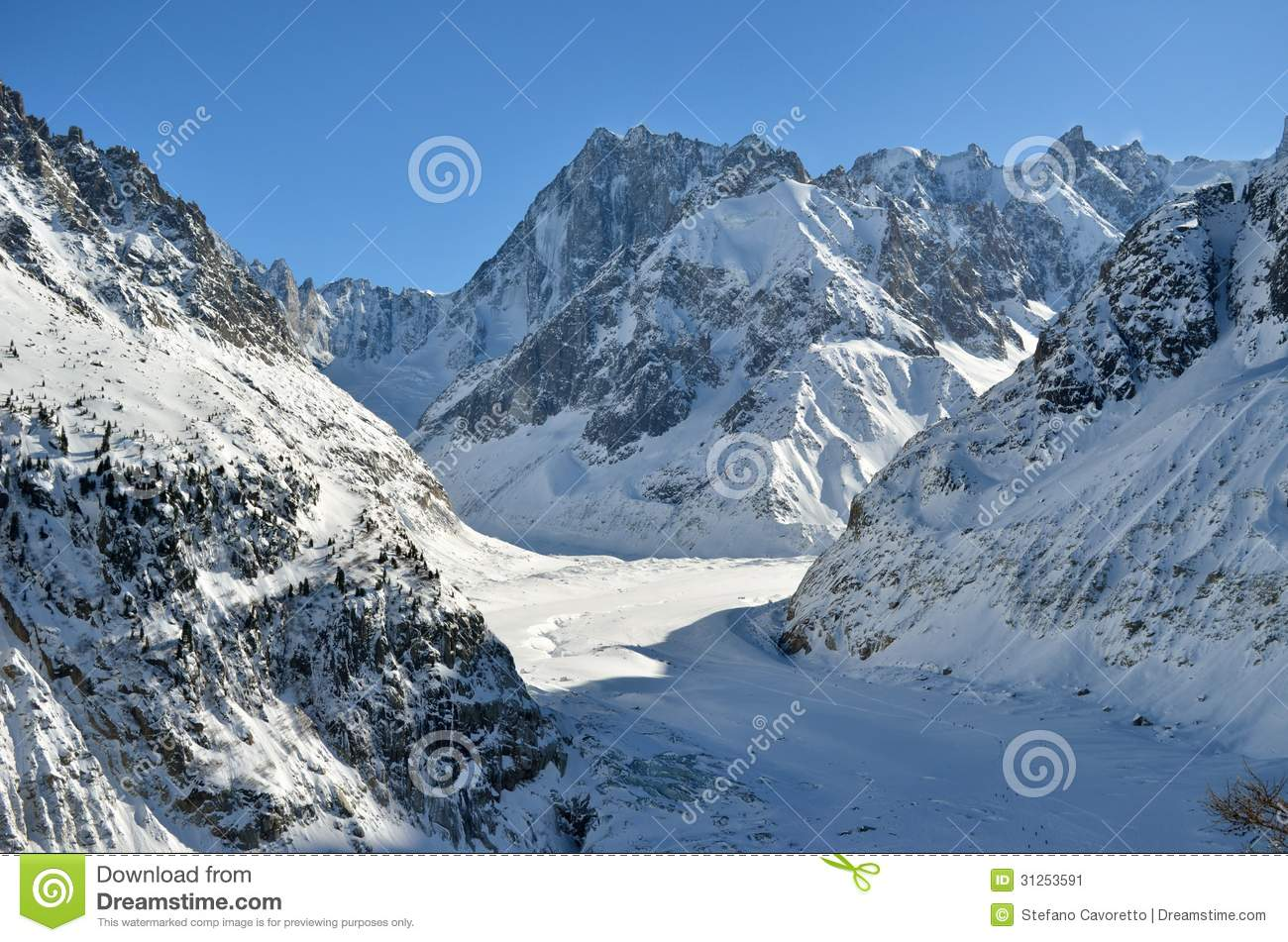 The Mer De Glace, Sea Of Ice In Chamonix, France Stock Image.