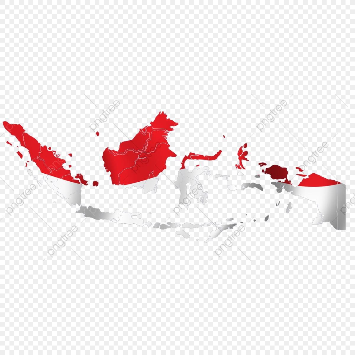 Peta Merah Putih, Alamat, Kawasan, Indah PNG dan Vektor.