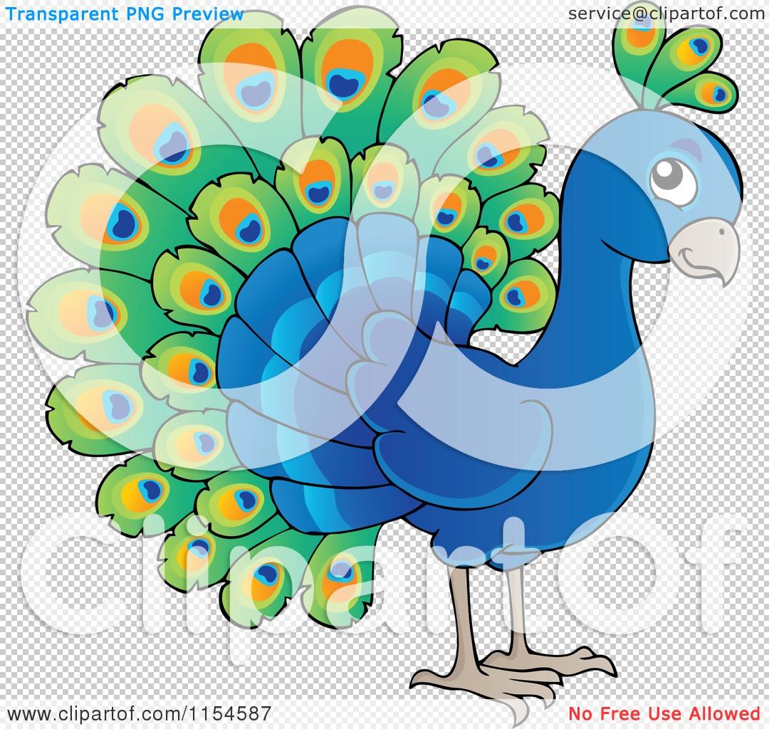 Cartoon of a Cute Peacock.
