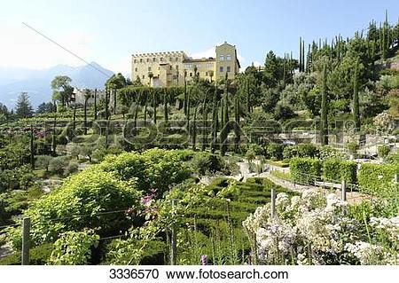 Stock Photography of Trauttmannsdorff Castle and botanic garden.