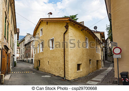 Stock Image of typical old houses in famous village of Meran.