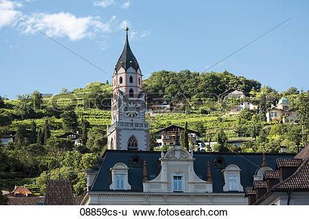 Stock Images of Italy, South Tyrol, Meran, St. Nikolaus Church.