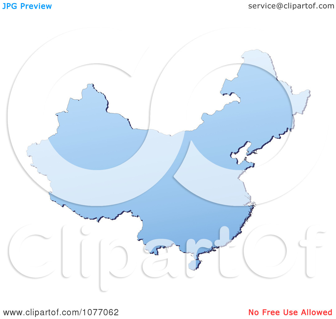 Clipart Gradient Blue China Mercator Projection Map.