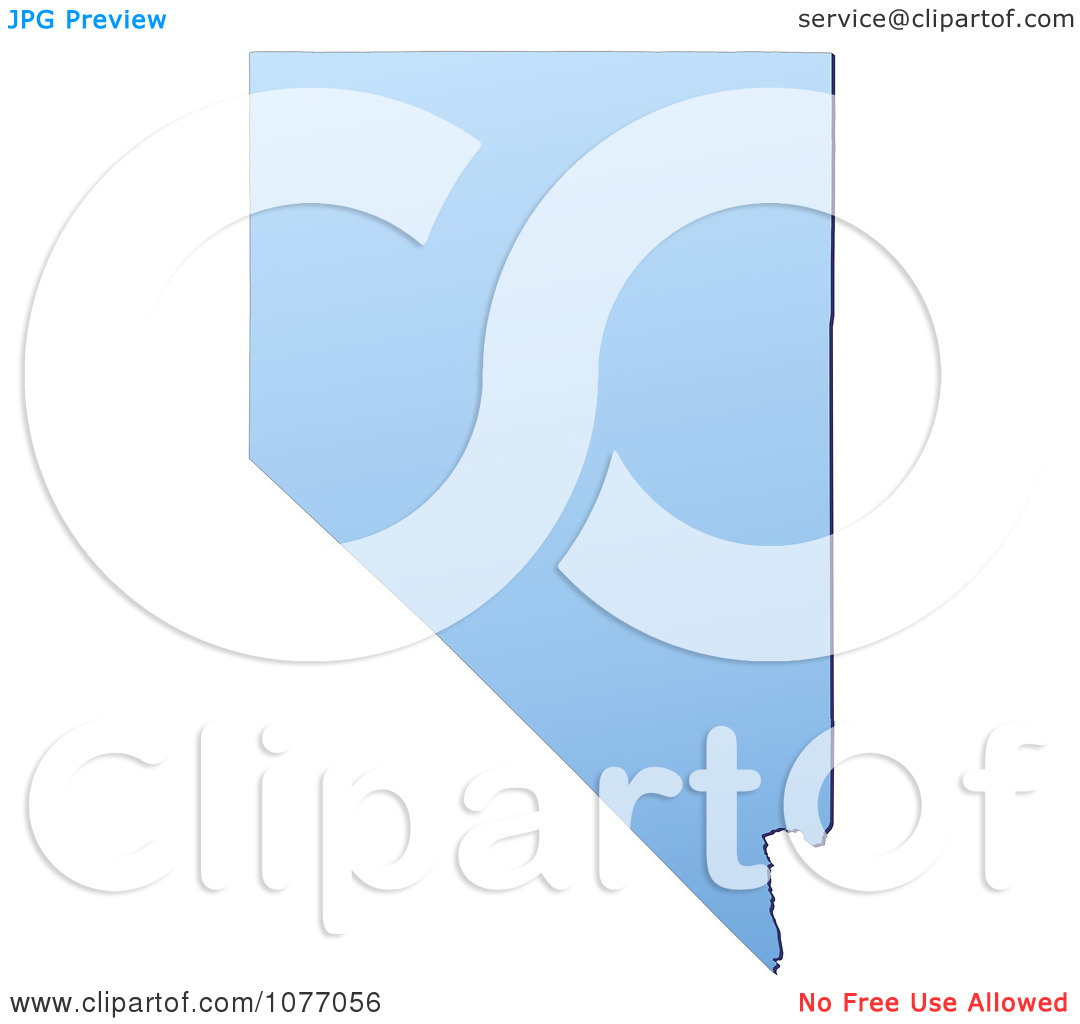 Clipart Gradient Blue Nevada United States Mercator Projection Map.