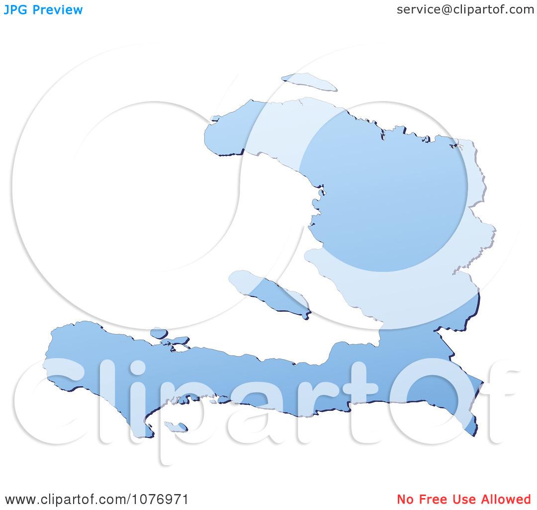 Clipart Gradient Blue Haiti Mercator Projection Map.