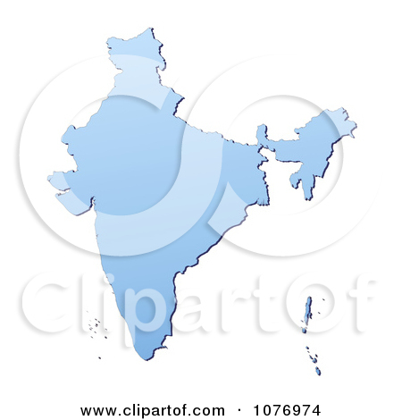 Clipart Gradient Blue India Mercator Projection Map.