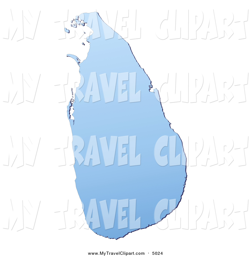 Clipart of a Gradient Blue Sri Lanka Mercator Projection Map by.