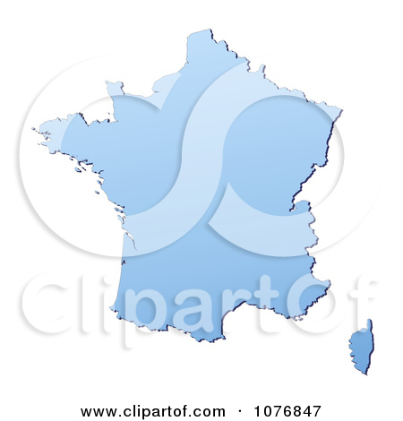 Clipart Gradient Blue France Mercator Projection Map.