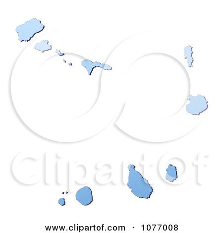 Clipart Gradient Blue Cape Verde Mercator Projection Map.