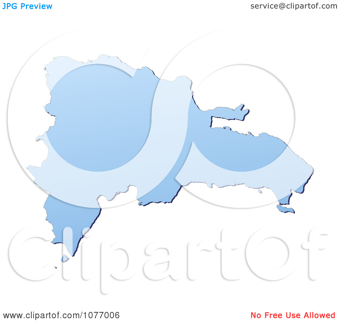 Clipart Gradient Blue Dominican Republic Mercator Projection Map.