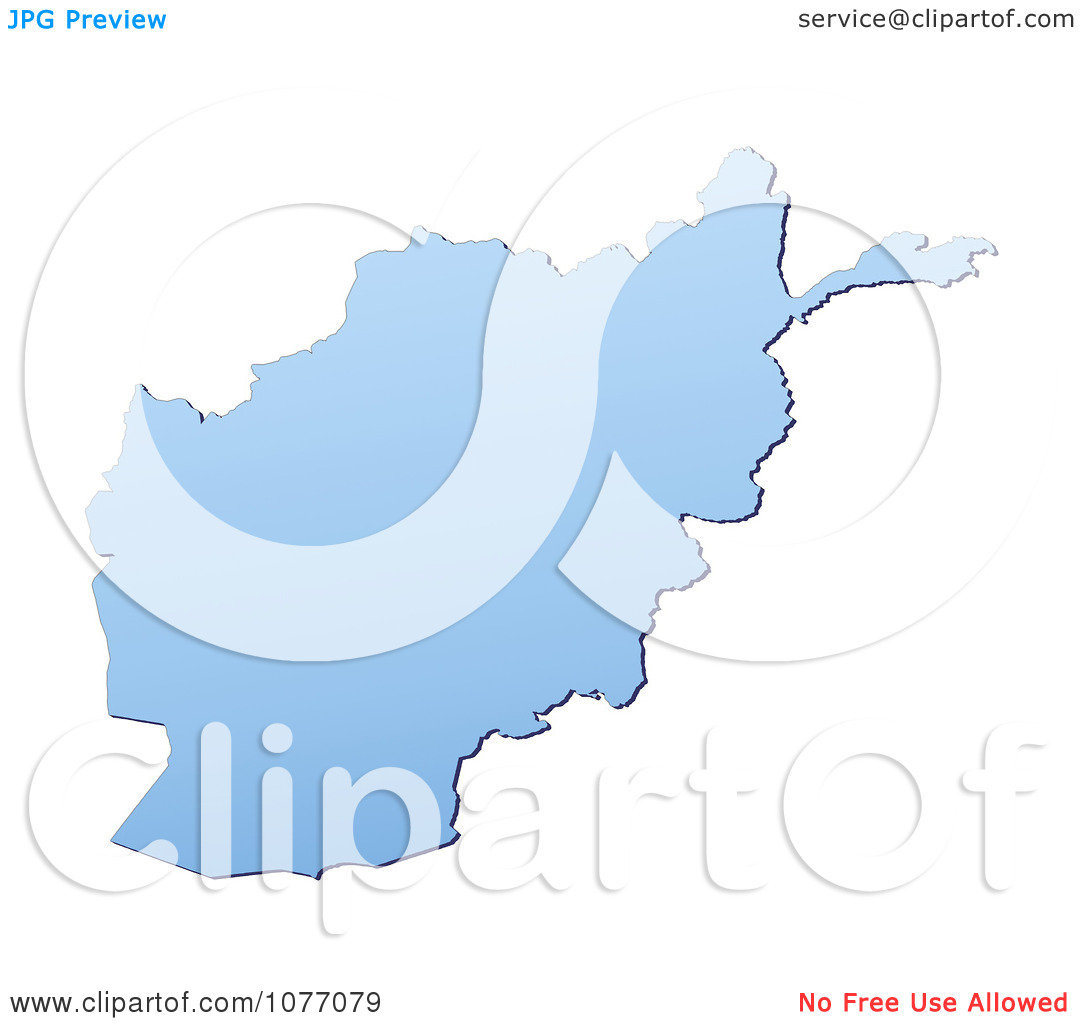 Clipart Gradient Blue Afghanistan Mercator Projection Map.