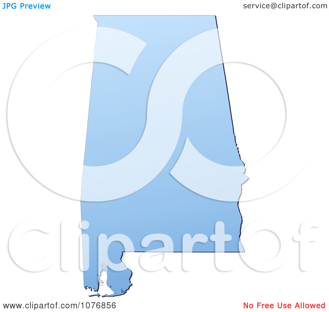 Clipart Gradient Blue Alabama United States Mercator Projection.