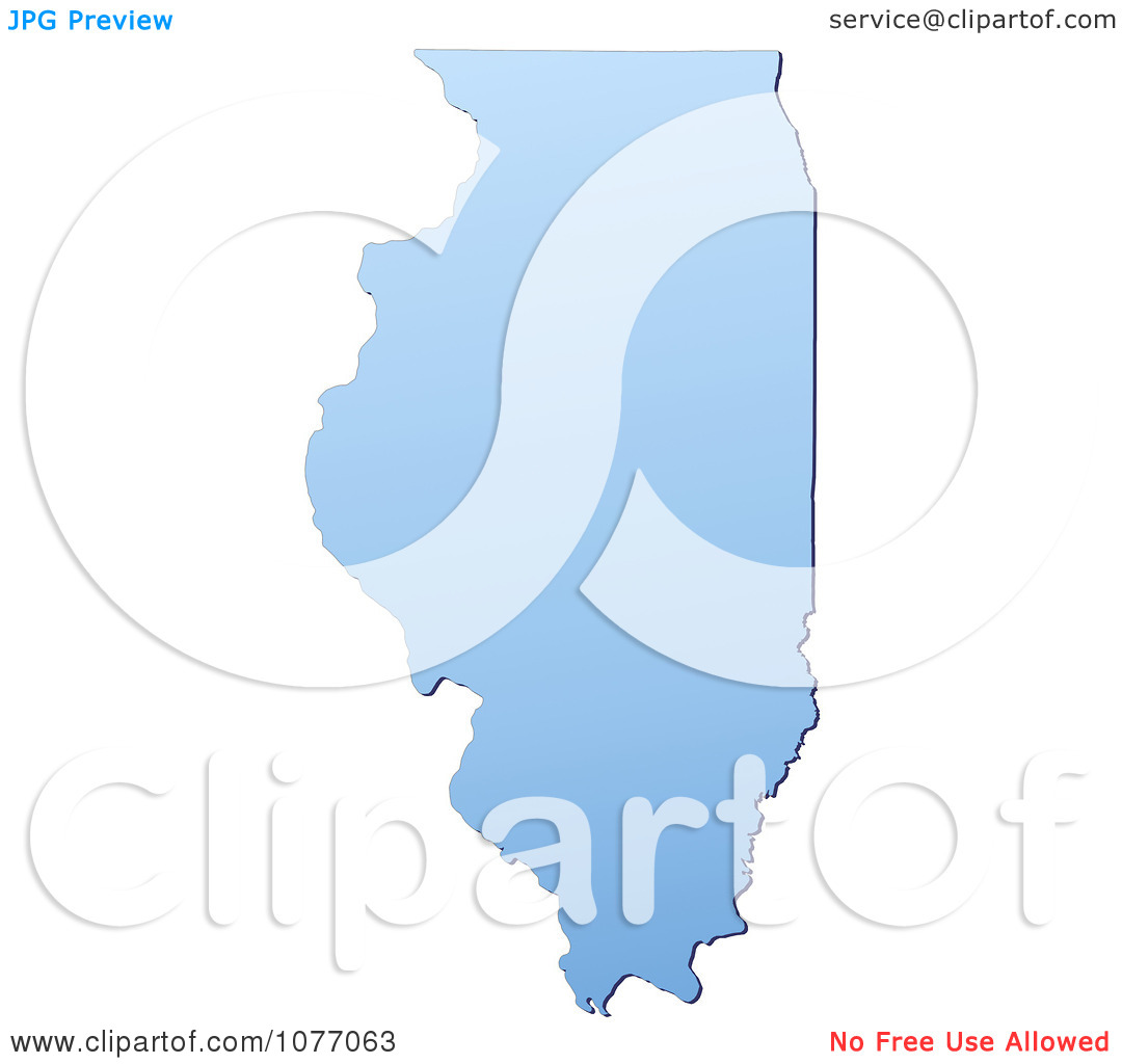 Clipart Gradient Blue Illinois United States Mercator Projection.