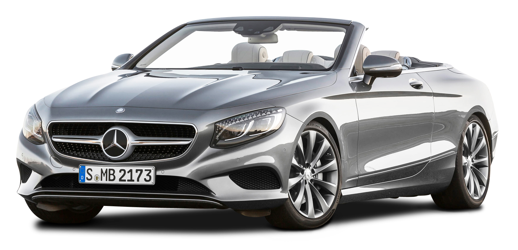Silver Mercedes Benz S Class Cabriolet Car PNG Image.