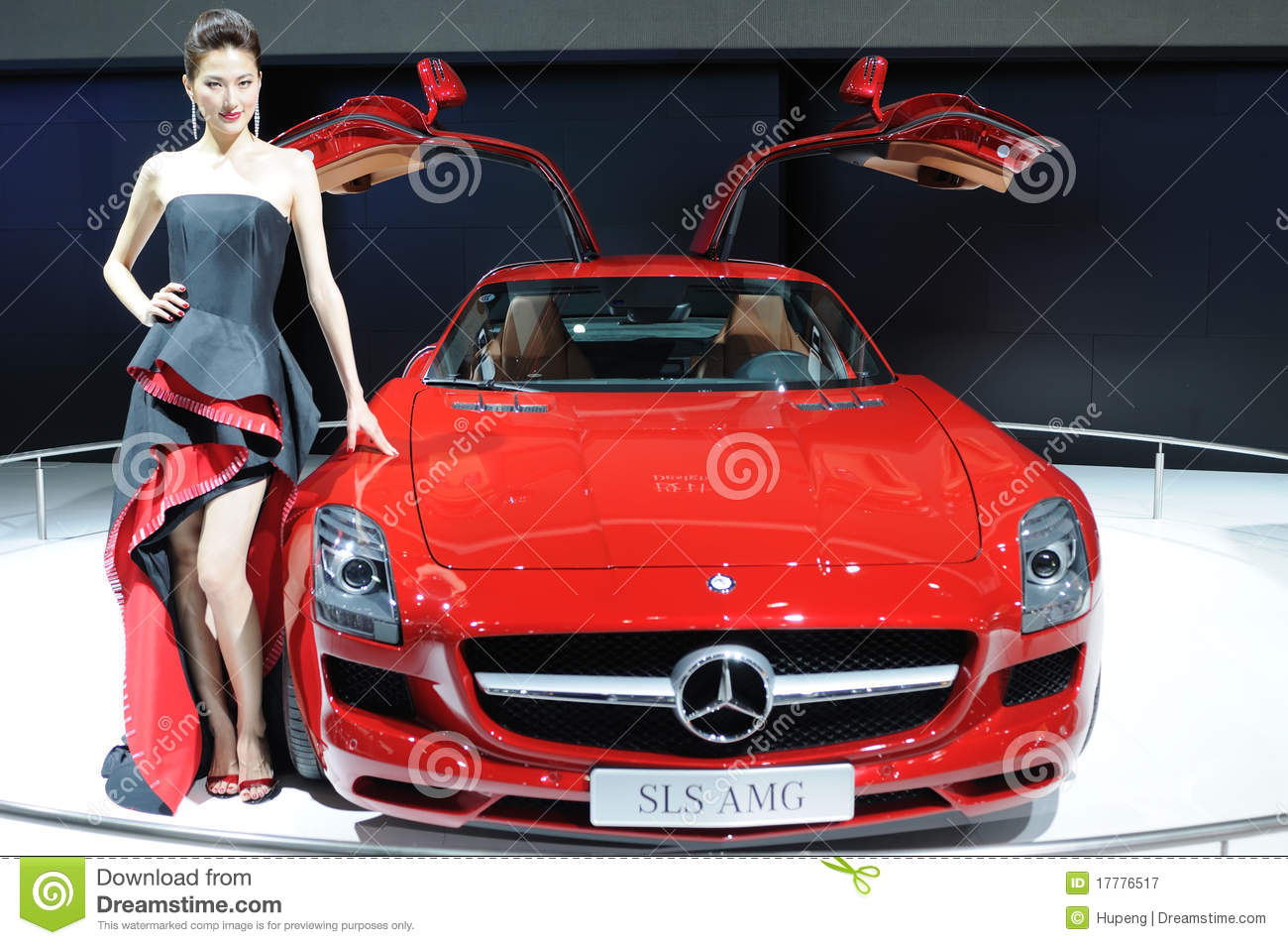 Model And Red Mercedes.