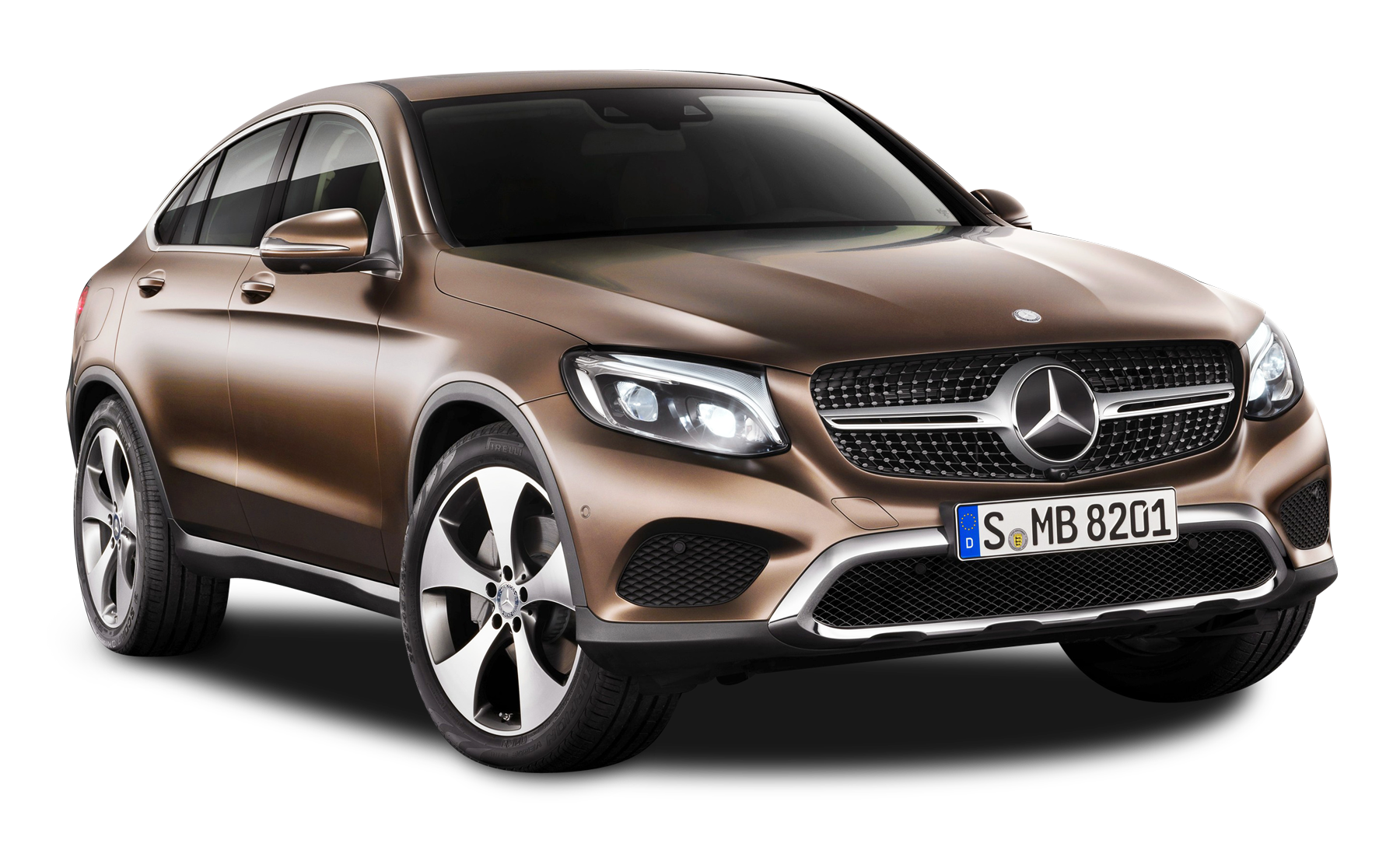 Brown Mercedes Benz GLE Coupe Car PNG Image.