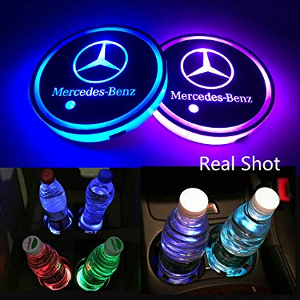AutoDIY Led Car Logo Cup Lights up Holder USB Charging Waterproof Bottle  Drinks pad 7 Colors Changing Atmosphere Lamp mat Cars for Luminous Coasters.