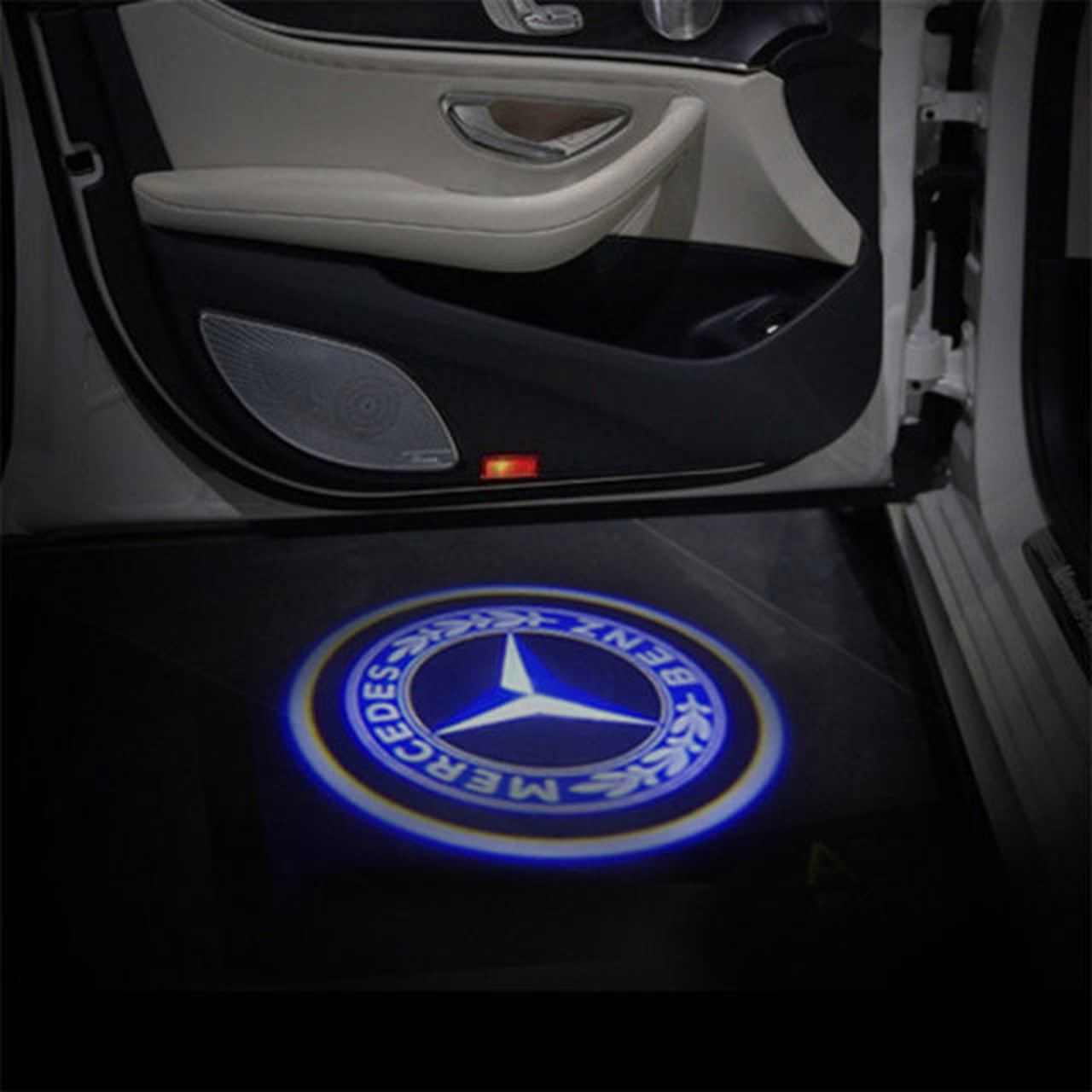 Mercedes Benz Logo Courtesy Shadow Car Door LED Lights.