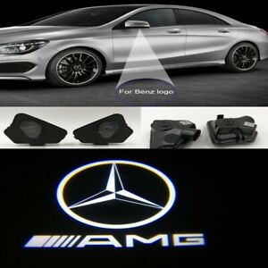 Details about 2x AMG Mirror LED Puddle Lights Projector Welcome Logo Emblem  for Mercedes Benz.