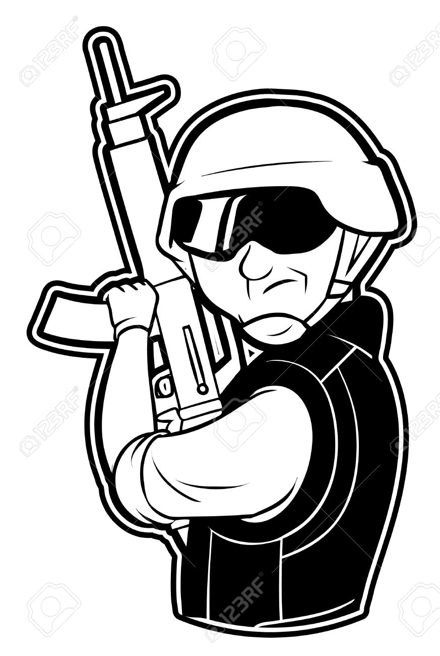 Black And White Clipart Soldier Royalty Free Cliparts, Vectors.