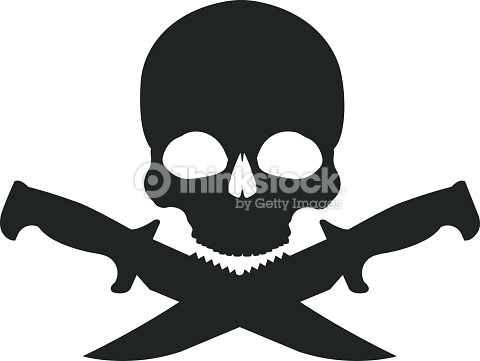 Skull And 2 Crossed Knifes Black Emblem Vector Art.