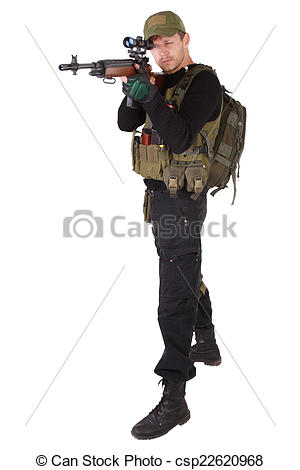 Stock Image of mercenary with m14 sniper rifle isolated on white.