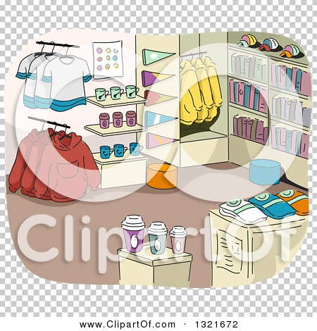 Clipart of a College Campus Store Interior with Merchandise.