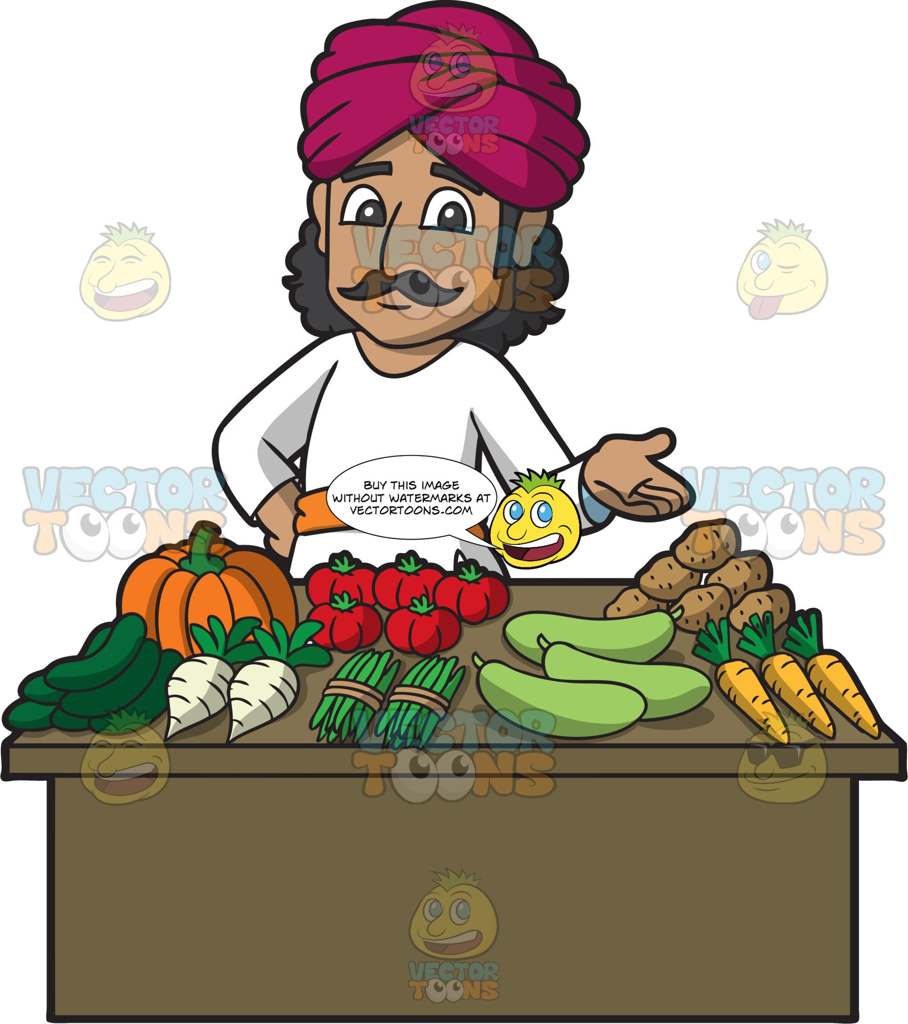 A Friendly Indian Merchant Selling Vegetables.
