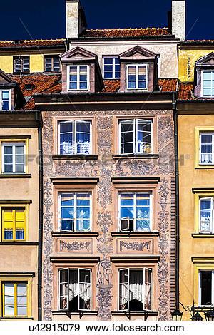Stock Photograph of Poland, Mazovia Province, Warsaw. Facade of.