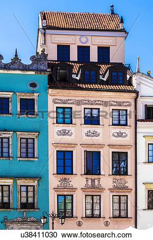 Stock Photography of Poland, Mazovia Province, Warsaw. Facade of.