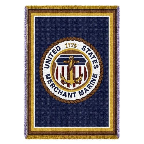 Merchant Marine Corps Tap Throw Blanket, 100% Made in USA, All Luxury Cotton.
