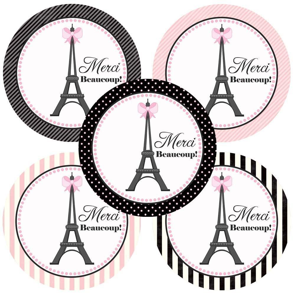 Paris Merci Beaucoup Sticker Labels.